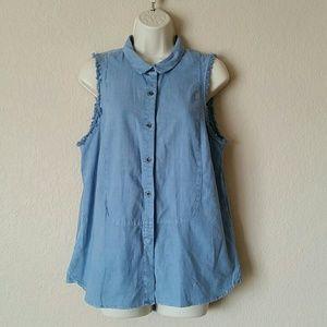 Free People Linen Denim Raw Edge Vest Button Top